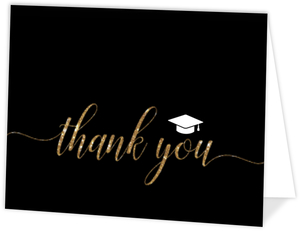 Script Faux Gold Glitter Graduation Thank You Card