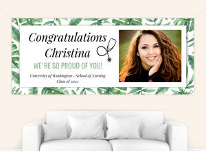 Tropical Watercolor Leaves Graduation Banner