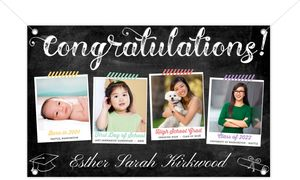 Taped Snapshots Timeline Printable Graduation Banner