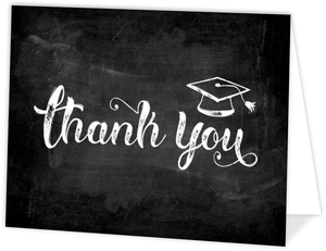 Chalkboard Sketch Typography Graduation Thank You Card