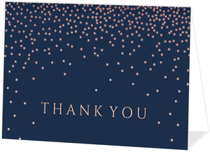 Faux Foil Pink Confetti Thank You Card