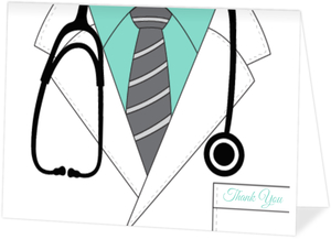 Doctor Lab Coat Graduation Thank You Card