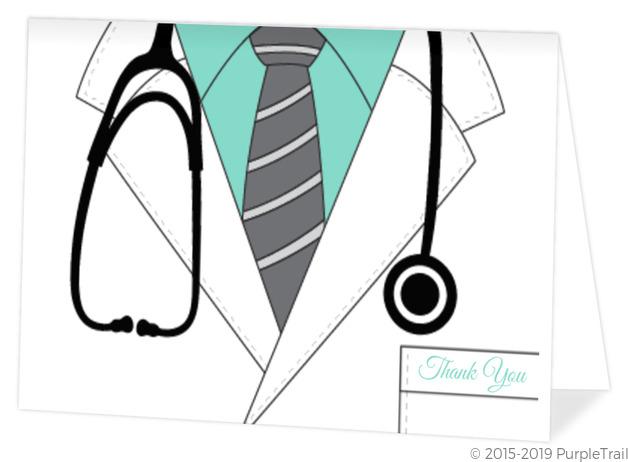 doctor lab coat graduation thank you card graduation thank you cards