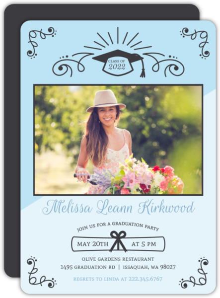 Decorated Two Tone Graduation Party Invitation