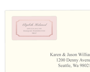 Rose Gold Bracket Wedding Address Label