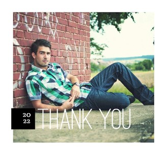 Simple Black Stripe Graduation Thank You Card