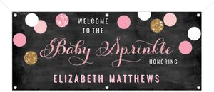 Pink and Gold Baby Sprinkle Baby Shower Banner