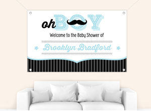 Blue and Black Moustache Boy Baby Shower Banner
