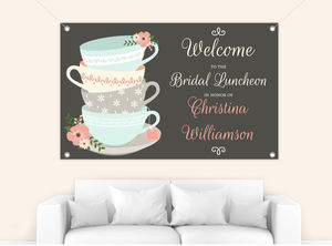 Charming Tea Cups Bridal Shower Banner