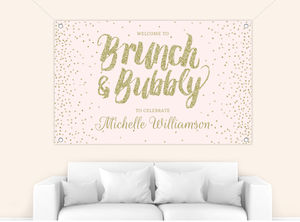 Brunch & Bubbly Gold Glitter Bridal Shower Banner