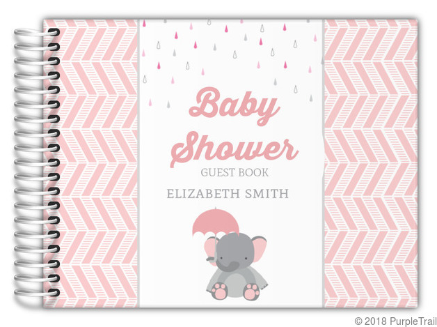 Pink Elephant And Chevron Baby Shower Guest Book Baby Shower Guest Books