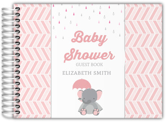 Pink Elephant And Chevron Baby Shower Guest Book