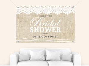 Vintage Burlap Lace Bridal Shower Banner