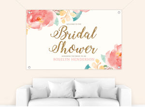 Pink Elegant Watercolor Flower Bridal Shower Banner