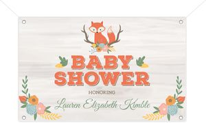 Cute Fox Woodland Baby Shower Banner