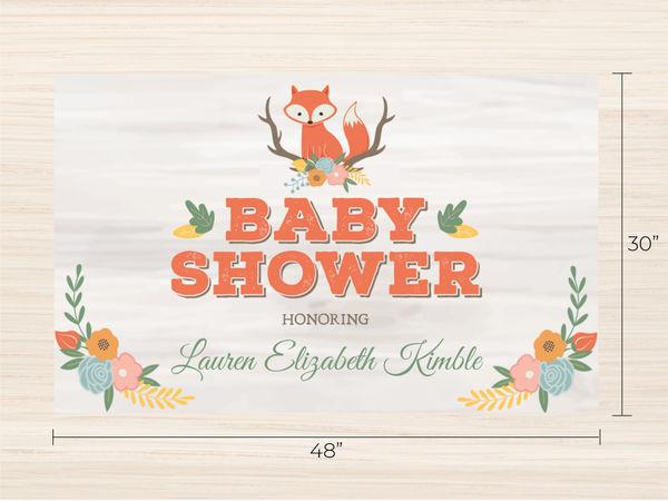 Cute Fox Woodland Baby Shower Banner Banner Prints