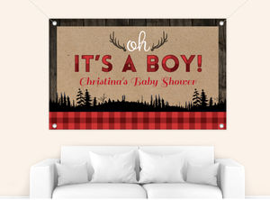 Rustic Plaid And Wood Christmas Baby Shower Banner