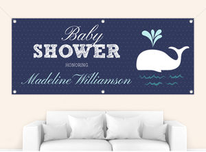 Classic Dots Blue Whale Baby Shower Banner