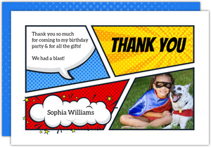 Bright Superhero Comic Strip Thank You Card