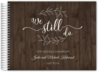 Textured Wood Botanical Anniversary Guest Book