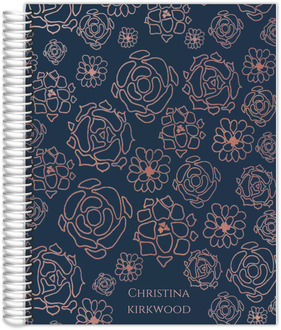 Faux Rose Gold Floral Pattern Student Planner