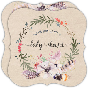 Delicate Kraft Flowers And Feathers Baby Shower Invitation