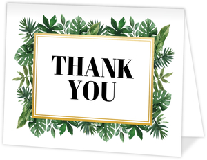 Tropical Greenery Watercolor Graduation Thank You Card