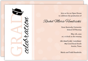 Nursing School Graduation Invitation Pink Bubbles