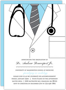 Blue Doctor Coat Medical School Graduation Invitation