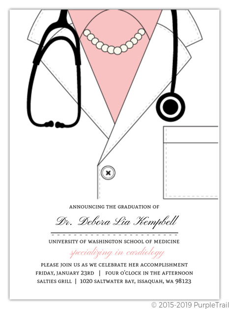 Medical school graduation invitations medical school graduation pink doctor coat medical school graduation invitation filmwisefo