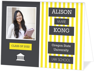 Gray and Yellow Stripes Law School Graduation Invitation