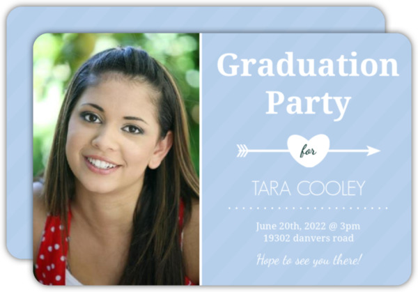 Whimsical Blue Business Card Graduation Invitation