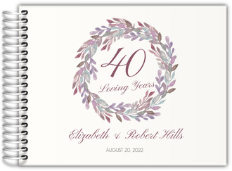 Elegant Watercolor Wreath Anniversary Guest Book