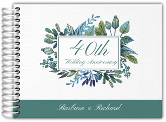Turquoise Foliage Wedding Anniversary Guest Book