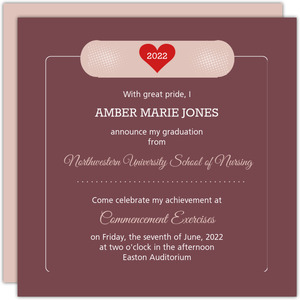 Bandage Nursing School Graduation Invitation