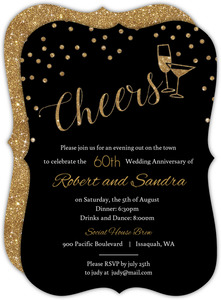 Faux Gold Glitter Cheers 60th Wedding Anniversary Invitation