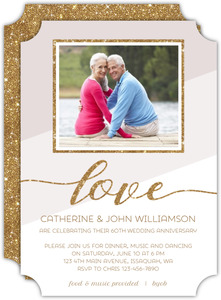 Modern Glitter Frame 60th Anniversary Invitation