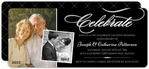 Celebrate Silver Foil Photo 60th Wedding Anniversary Invitation