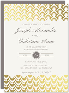 Gold Scallop Foil 60th Anniversary Invitation