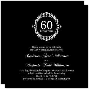 Black & White Elegant Monogram 60th Anniversary Invitation
