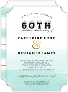 Modern Dip Dyed Watercolor 60th Anniversary Invitation