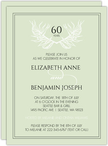 Wild Leaf Monogram 60th Anniversary Invitation