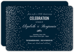 Silver Foil Confetti 60th Anniversary Party Invitation