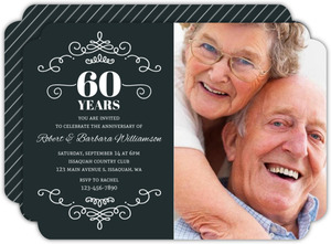 Decorative Swirls 60th Anniversary Invitation