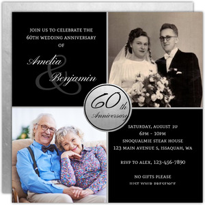 Modern Silver 60th Anniversary Invitation