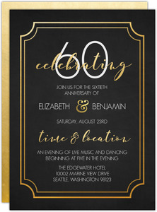 Timeless Faux Gold 60th Wedding Anniversary Invitation