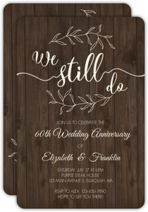 Textured Wood Botanical 60th Anniversary Invitation
