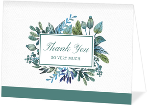 Turquoise Foliage Thank You Card