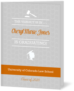 Gray Pattern & Orange Law School Graduation Invitation