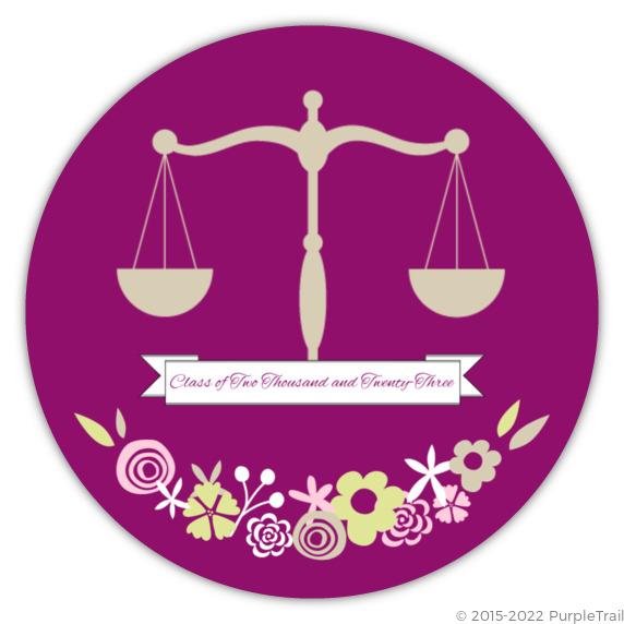 law graduation announcement floral balance law school graduation